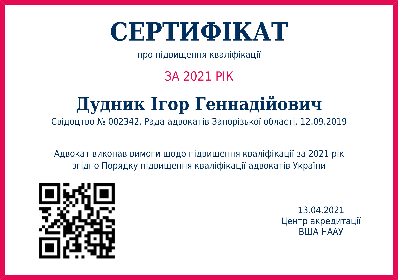 Сертификат о повышении квалификации за 2021 год. Дудник Игорь Геннадиевич