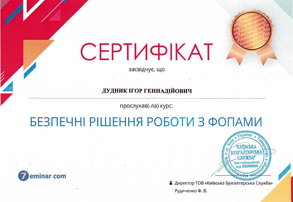 Сертификат. Безопасные решения работы с фопами. Дудник Игорь Геннадиевич