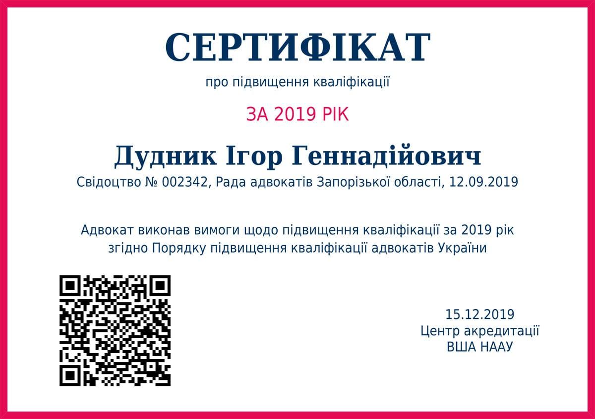 Сертифікат про підвищення кваліфікації за 2019 рік. Дудник Ігор Геннадійович