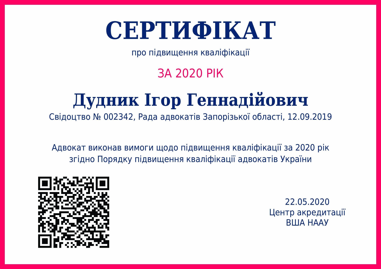Сертифікат про підвищення кваліфікації за 2020 рік. Дудник Ігор Геннадійович
