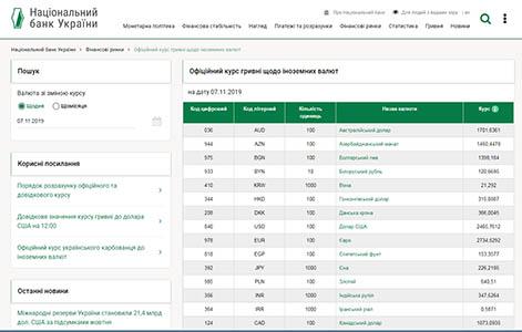 Установленный НБУ официальный курс гривны относительно иностранных валют - ссылка с сайта запорожского адвоката Дудника И.Г.